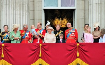 LONDON, ENGLAND, UK - JUNE 13 2015: The Royal Family appears on Buckingham Palace balcony during Trooping the Colour ceremony also Prince Georges first appearance on balcony on June 13 2015 in London