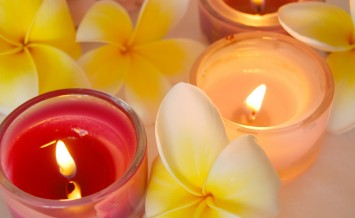 spa image of frangipani flowers and candles  ** Note: Slight blurriness, best at smaller sizes