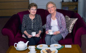 Photos © Joel Chant - www.joelchant.com UNP- 34309 - Whistle PR  Churchill Retirement Living -  Cousins Barbara Friggens, Left, and Corinne Stone enjoying a chat and a cup of tea at King Harold Lodge, Waltham Abbey