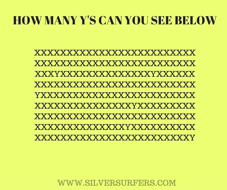 HOW MANY Y'S CAN YOU SEE BELOW