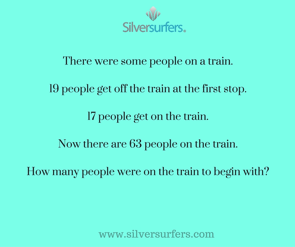 There were some people on train.19 people get off the train at the first stop.17 people get on the train.Now there are 63 people on the train.How many people were on the train to begin with-