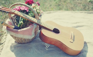Guitar basket with wine and bouquet of flowers. Vintage tender background. Romance love date Valentine's day - concept ** Note: Shallow depth of field