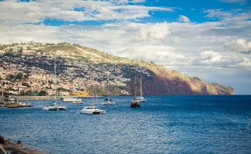 yachts floating in the harbour of Funchal Madeira