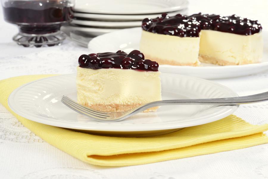 blueberry cheesecake on yellow napkin