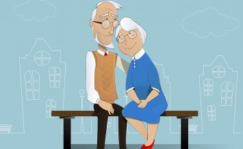 Happy cartoon elderly couple sitting on bench. In the background is shown schematically city. Pensioners senior social insurance grandfather grandmother. Vector
