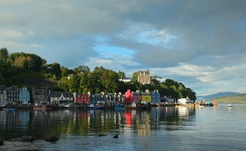 UK Western Scotland Isle of Mull SEPTEMBER 6: Colorful town of Tobermory  capital of Mull landscape on Isle of Mull, September 6, 2013 Scotland