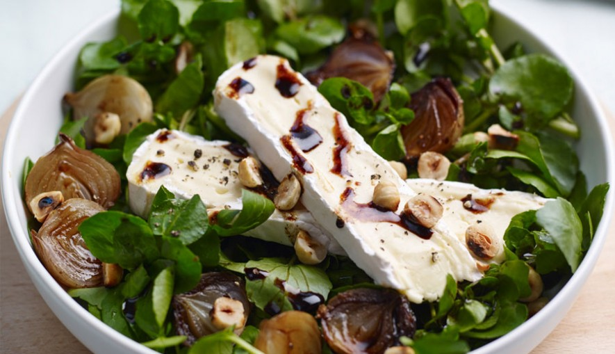 Watercress-salad-with-balsamic-roasted-shallots-&-brie