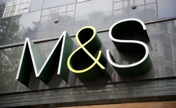 LONDON-MAY 21, 2013. M&S store sign in London on May 21, 2013. Marks and Spencer specialises in the selling of clothing and luxury food products. 703 stores in UK and 361 stores in more than 40 countries.