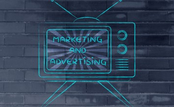 tv ads and mass media: old style television with text Marketing and advertising