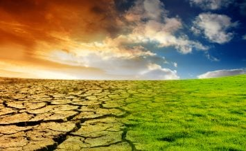 The Effect of Global Warming is shown on a landscape