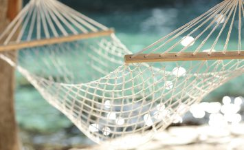 Close up of a hammock on a tropical beach resort vacation concept