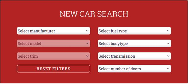 New Car Search Box