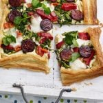 Chorizo-watercress-and-Red-Pepper-Tart