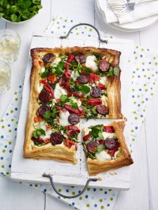 Chorizo, watercress and Red Pepper Tart