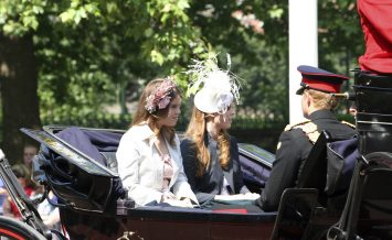 London UK - June 17 2006: Princess Eugenie (left) and Princess Beatrice seating on the Royal Coach at Trooping the colour ceremony also known as the Queen's Birthday Parade ** Note: Slight blurriness, best at smaller sizes