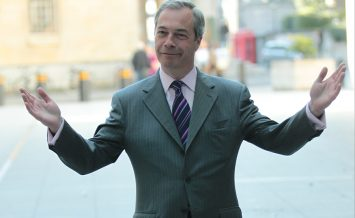 LONDON, UK - MAY 1, 2016: Nigel Farage seen arriving at the BBC to attend the Andrew Marr show