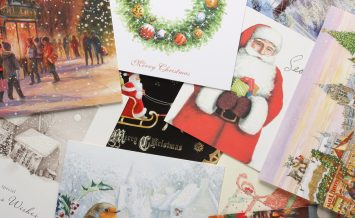 Bracknell, England - October 28th, 2014: Vintage style Christmas cards. Modern cards originated from a printing in 1843 instigated by Sir Henry Cole, director of London's Victoria and Albert Museum.