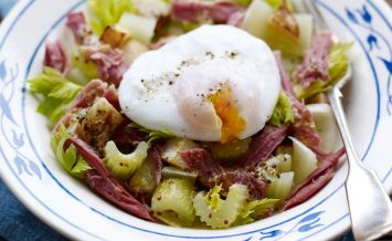 mark-hix's-three-celery-salad-with-ham-hock,-mustard-and-a-poached-egg