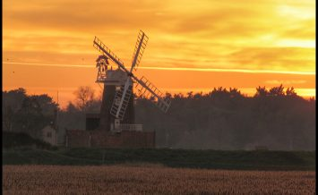 Sunset at Cley windmill by Pauline Goldsworthy