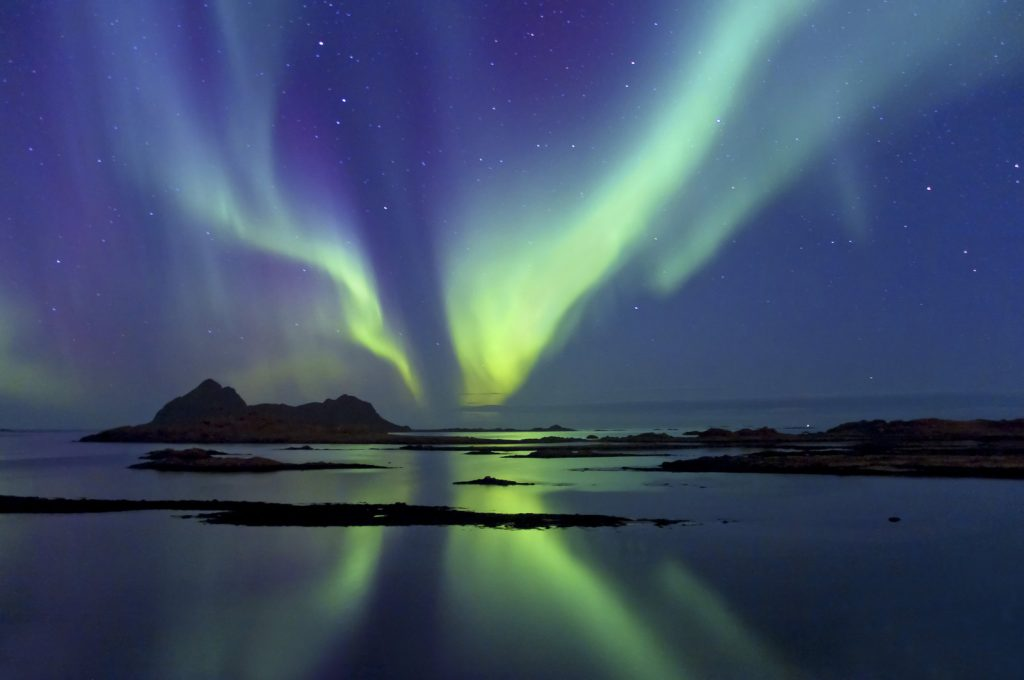 Northern Lights over Fjords Northern Norway
