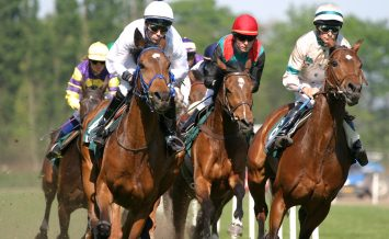horses and jockeys running fast on the race-track