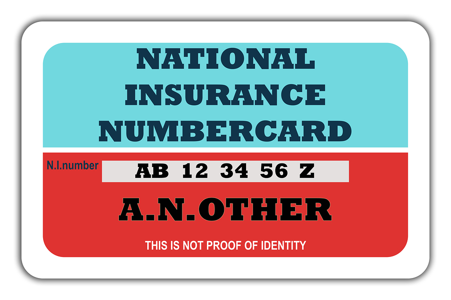 Blank British National Insurance numbercard, isolated on white background.