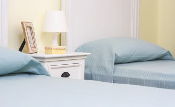 double room with separate beds and lamp close up