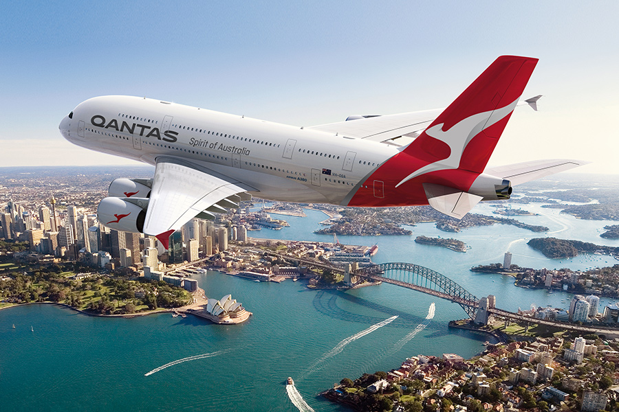 Modern day Qantas A380 over Sydney